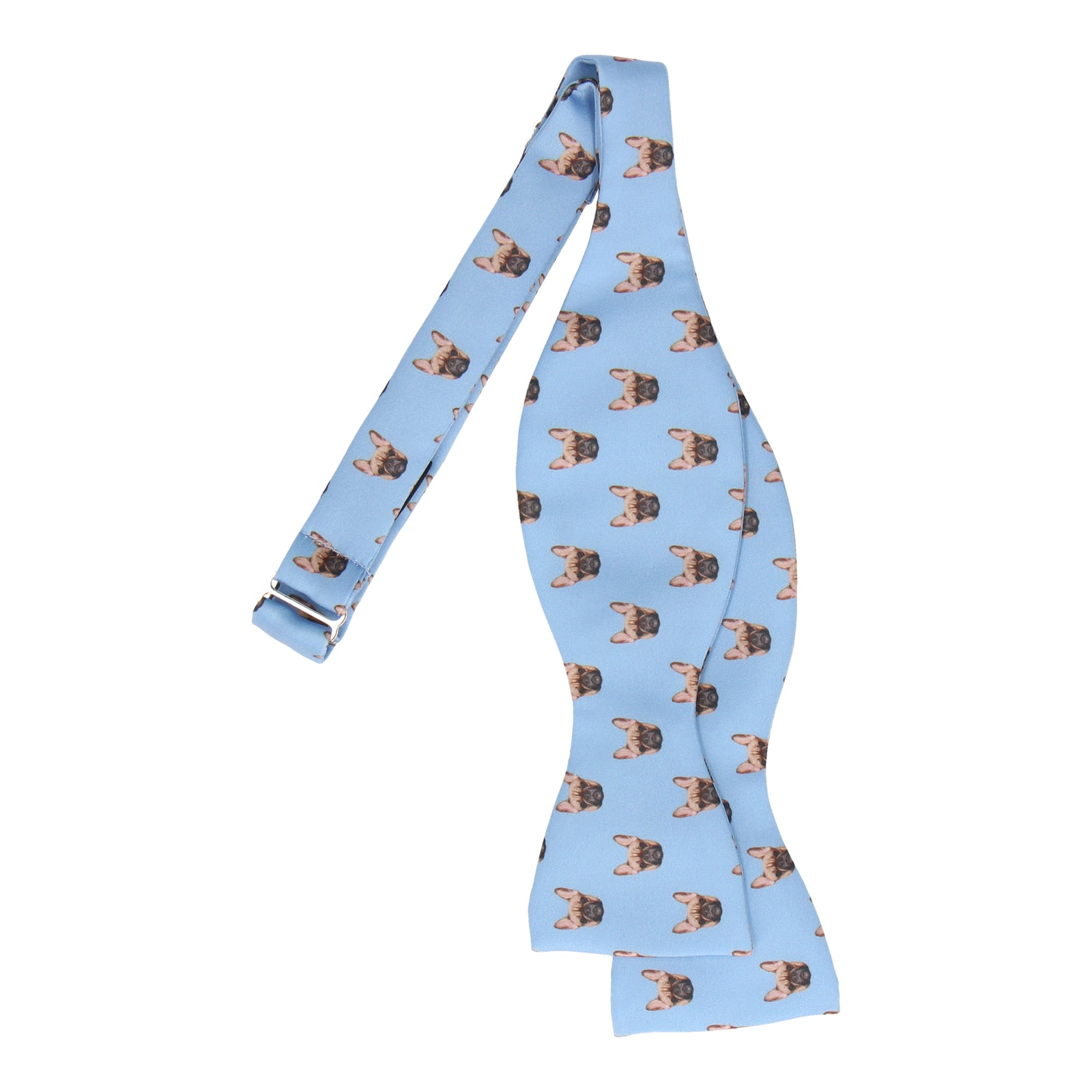 Blue French Bulldog Face Bow Tie