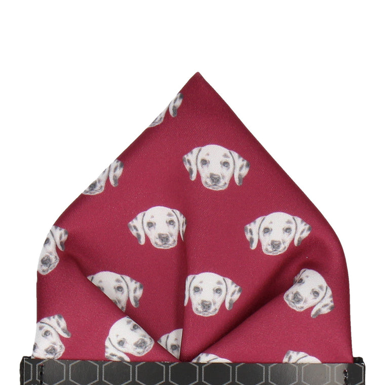 Dalmation Face Red Pocket Square