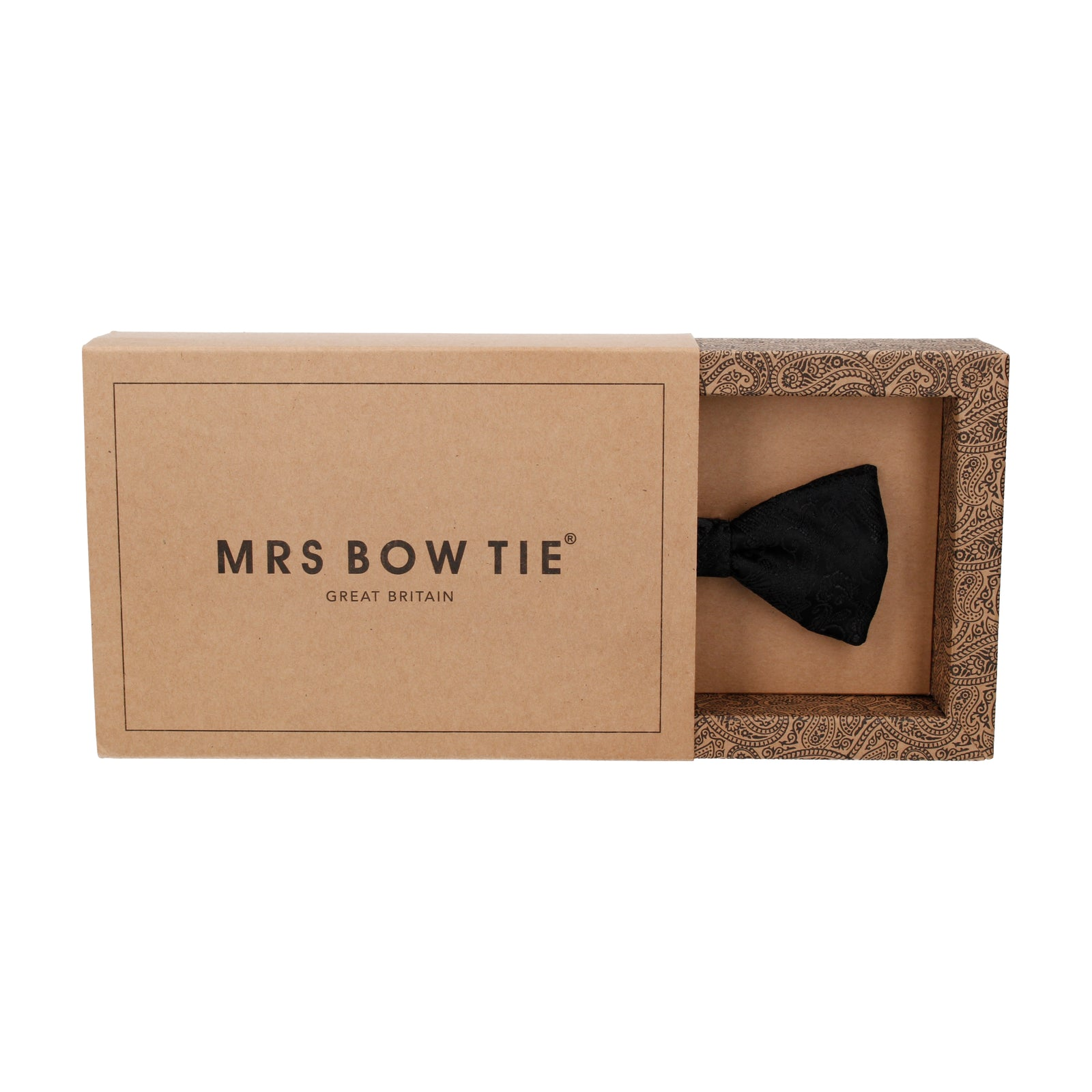Black Textured Paisley Bow Tie