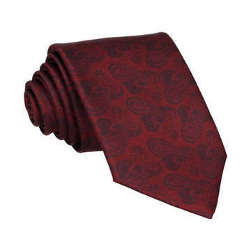 Dark Burgundy Red Paisley Satin Tie