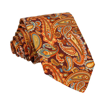 Orange Brown Retro Paisley Tie