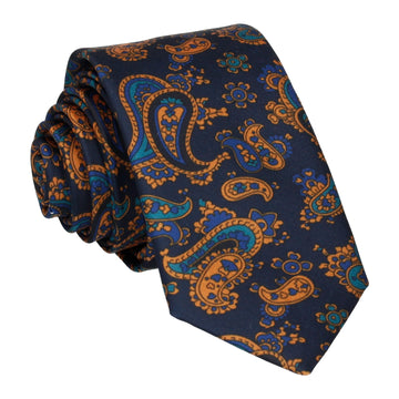 Navy & Orange Stylish Paisley Tie