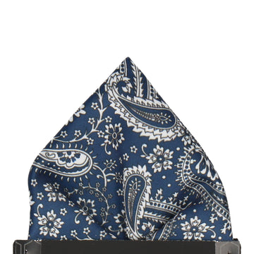 Prussian Blue Floral Paisley Pocket Square
