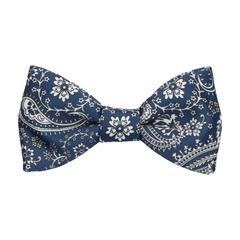 Arya Prussian Blue Paisley Bow Tie