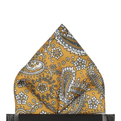 Saffron Gold Floral Paisley Pocket Square