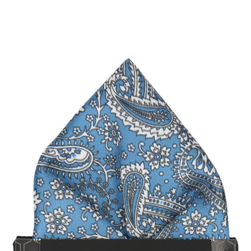 Regal Blue Floral Paisley Pocket Square