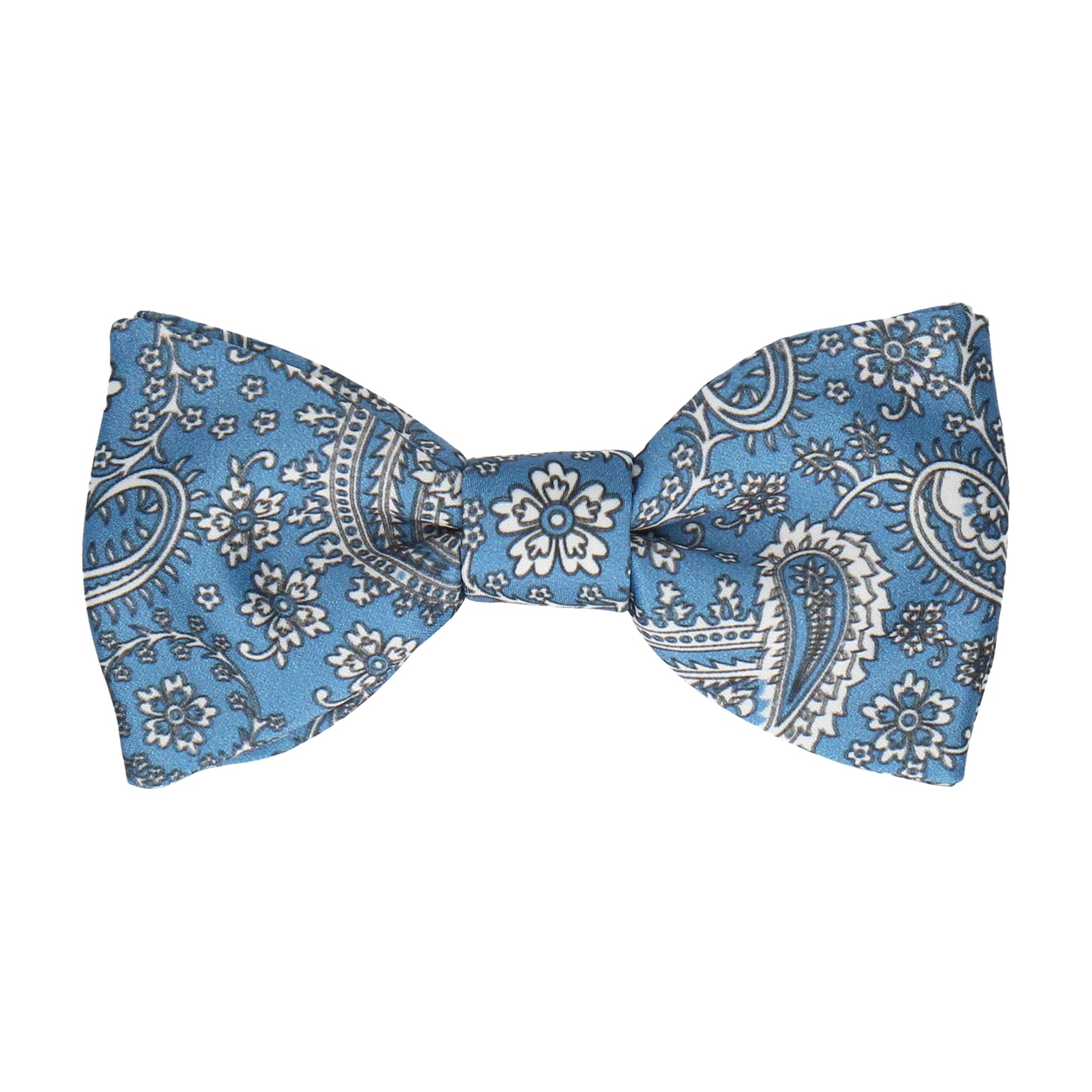 Regal Blue Floral Paisley Bow Tie