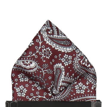 Maroon Red Floral Paisley Pocket Square