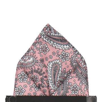Pink Rose Floral Paisley Pocket Square