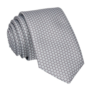 Light Grey Hexagon Pattern Tie