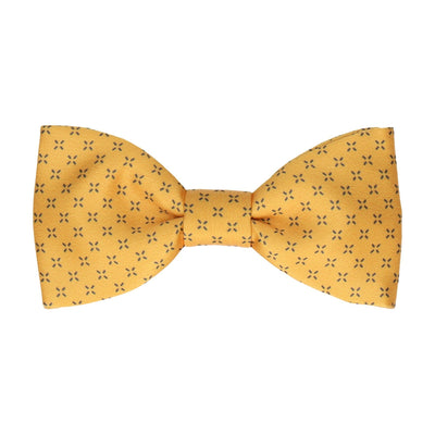 Yellow Cross Pattern Bow Tie