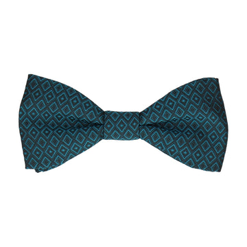 Jacquard Diamond Teal Blue Bow Tie
