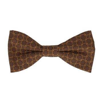 Brown Interlocked Links Cotton Bow Tie