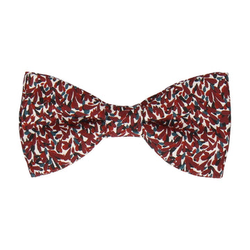 Burgundy Red Pattern Cotton Bow Tie