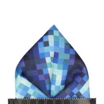 Pixels in Blue Pocket Square