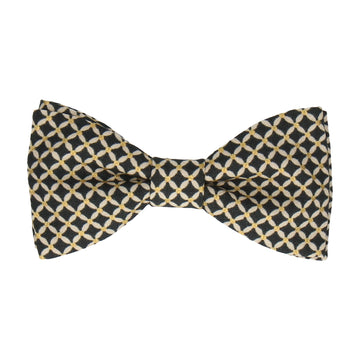 Navy & Gold Cross Check Diamond Bow Tie