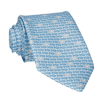 Blue Aquatic Fish Print Tie