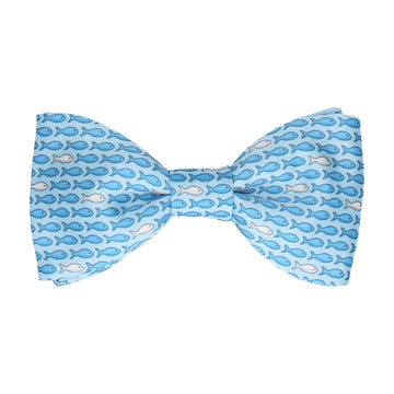 Blue Aquatic Fish Print Bow Tie