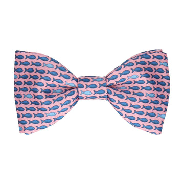 Pink Aquatic Fish Print Bow Tie