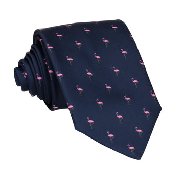 Flamingos Print Navy Blue Tie