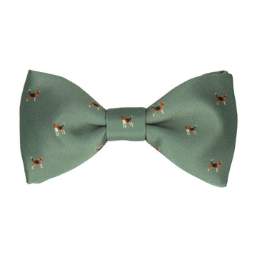 Country Green Beagles Print Bow Tie