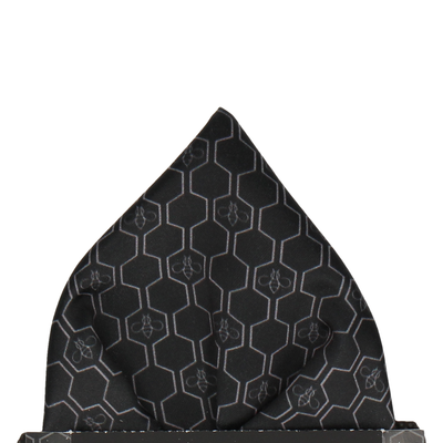 Grey Geo Honeycomb Bee Black Pocket Square