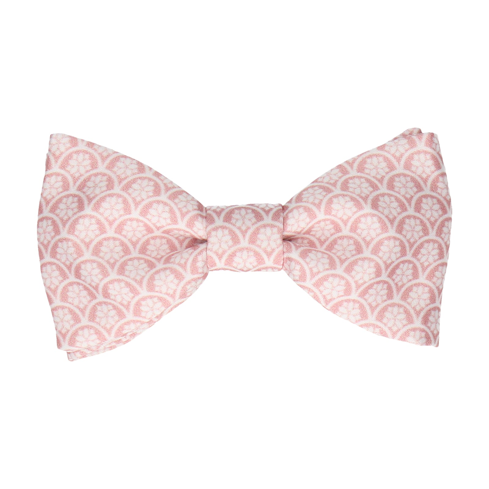 Pink Rose Lotus Fans Bow Tie