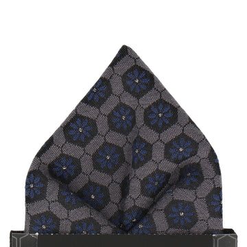 Textured Navy Blue Patterned Fabric Pocket Square