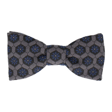 Textured Navy Blue Patterned Fabric Bow Tie