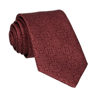 Burgundy Red Grecian Pattern Tie