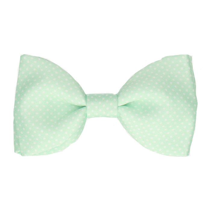 Pin Dots in Mint Bow Tie -Large-Pre-Tie- - bowties by Mrs Bow Tie