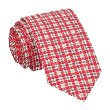 Small Check Red Tie