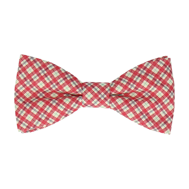Small Check Red Bow Tie
