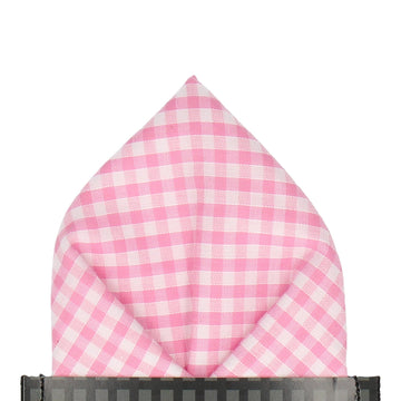 Pink Gingham Check Pocket Square