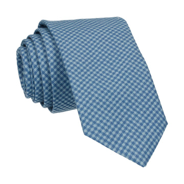 Tiny Check Blue Cotton Tie