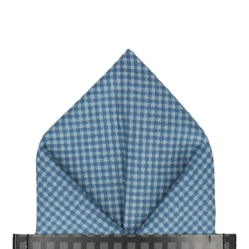 Tiny Check Blue Cotton Pocket Square