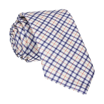 Blue & Cream Check Plaid Print Tie