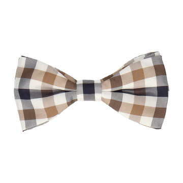 Mink Brown & Navy Plaid Check Bow Tie