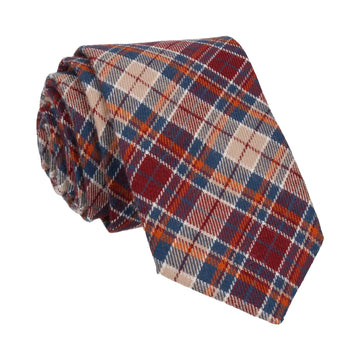 Burgundy & Beige Textured Plaid Tie