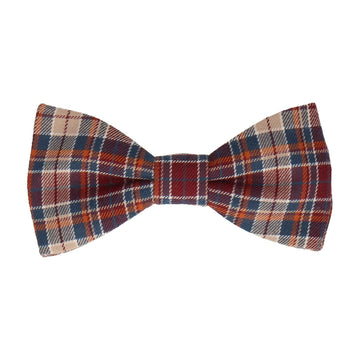 Burgundy & Beige Textured Plaid Bow Tie