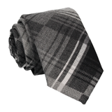 Brushed Cotton Grey Plaid Tie