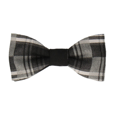 Brushed Cotton Grey Plaid Bow Tie