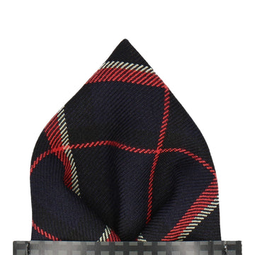 Dark Navy Plaid Tartan Pocket Square