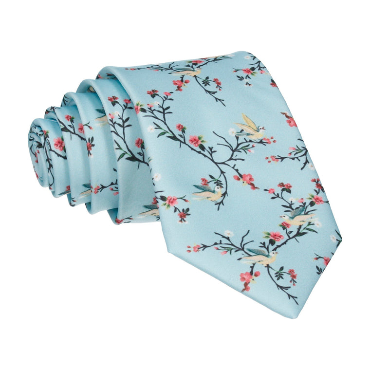 Sky Blue Chinoiserie Floral Tie