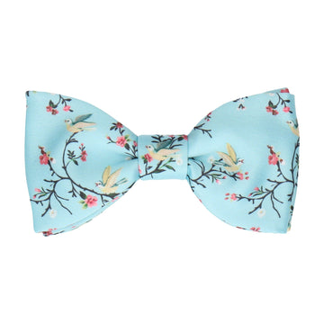 Sky Blue Chinoiserie Floral Bow Tie