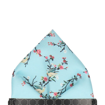 Sky Blue Chinoiserie Floral Pocket Square