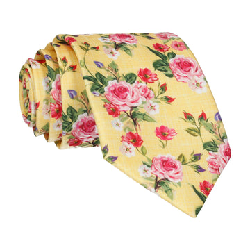 Lemon Yellow Floral Chintz Tie