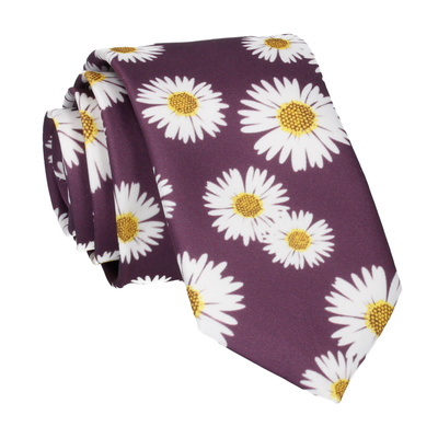 Purple Large Daisy Print Tie