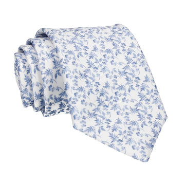 Gentle Blue Floral White Tie