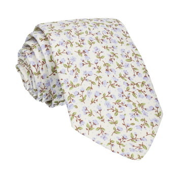 Lilac & Off White Ditsy Floral Tie